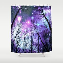 Black Trees Lavender Pink Blue Space Shower Curtain