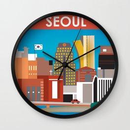Seoul, South Korea - Skyline Illustration by Loose Petals Wall Clock