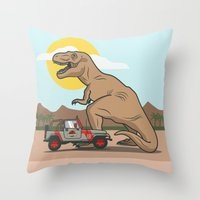 jurassic park Throw Pillows featuring Jurassic Park - T-Rex by Michael Walchalk