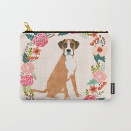 Boxer floral wreath flowers dog breed gifts Carry-All Pouch