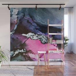 Pink and Navy Mixed Media Painting Wall Mural