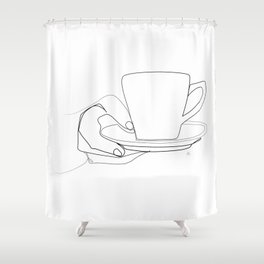 """"""" Kitchen Collection """" - Hand Offering Hot Cup Of Coffee/Tea Shower Curtain"""