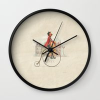 cycling Wall Clocks featuring Old cycling by Diego Caceres