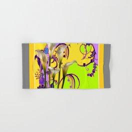 White Calla Lilies Lime-Purple Fantasy Garden Flowers Hand & Bath Towel