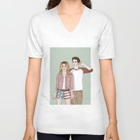 stiles V-neck T-shirts featuring Malia Tate/Stiles Stilinski by vulcains