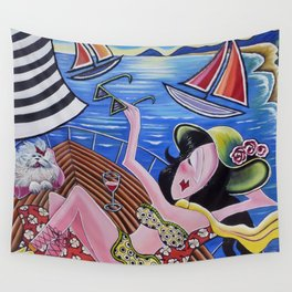 Snobby Susan goes yachting Wall Tapestry