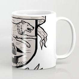 Wolf Running Over Pirate Ship Crest Scratchboard Coffee Mug