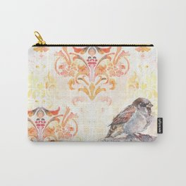 Sparrow in a Damask Autumn Carry-All Pouch
