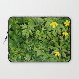 Yellow flowers on Green Laptop Sleeve