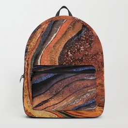 Hand drawn Watercolor Copper Glitter Stone and Ink Abstract Gem Glamour Marble Backpack