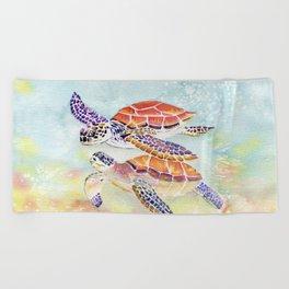 Swimming Together - Sea Turtle Beach Towel