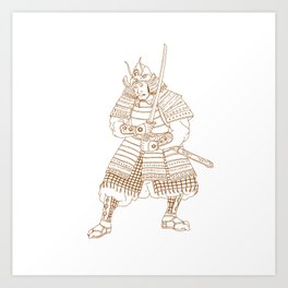 Bushi Samurai Warrior Drawing Art Print