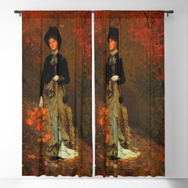 Winslow Homer's Red Autumn Leaves and Foliage female portrait painting bedroom wall decor Blackout Curtain