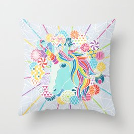 Laser Beam Rainbow Unicorn Papercut Throw Pillow
