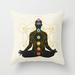 Sacred Geometry Metatron's Cube Chakra Meditation Throw Pillow