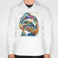 shih tzu Hoodies featuring Colorful Shih Tzu Dog Art By Sharon Cummings by Sharon Cummings