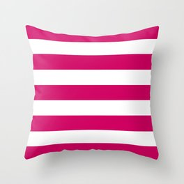 Royal red - solid color - white stripes pattern Throw Pillow