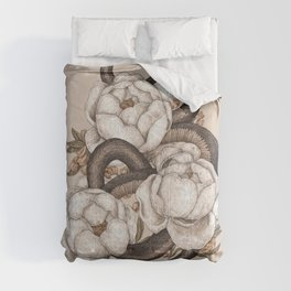 Snake and Peonies Comforters