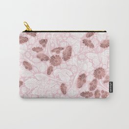 Chic Blush Pink White Rose Gold Butterfly Floral Carry-All Pouch