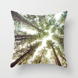 Green Forest Sky Trees Throw Pillow