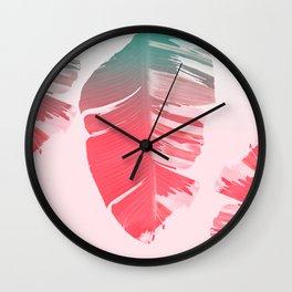Dreamy Salmon Pink Tropical Banana Leaves Wall Clock