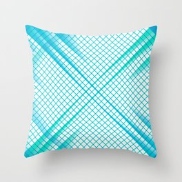 Stay Focused - Abstract Geometric Grid Mint Blue Throw Pillow