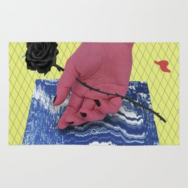 HAND with black Rose Rug