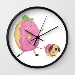 Donut Dog Walker Donut Hole Wall Clock