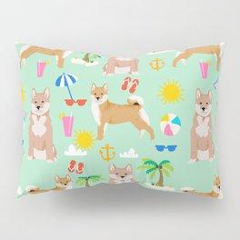 Shiba Inu summer beach vacation dog gifts pure breed pet portrait pattern Pillow Sham