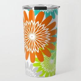 Warm Flower Stencils Lime Orange Turquoise Travel Mug