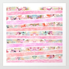 Modern floral watercolor girly pastel pink stripes Art Print