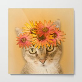 Tabby Cat with Daisy Flower Crown, Mustard Yellow Background Metal Print