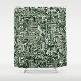 Circuit Board // Green & White Shower Curtain