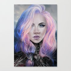 Ambrosial - Futuristic sci-fi girl with pink hair portrait Canvas Print