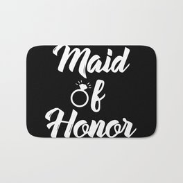 Baesic Maid of Honor (Black & White) Bath Mat