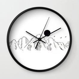 Desert Cacti Mountain Range Landscape Scene Illustration Wall Clock