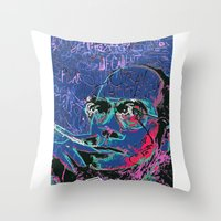 hunter s thompson Throw Pillows featuring Hunter S. Thompson by Kori Levy illustration & design
