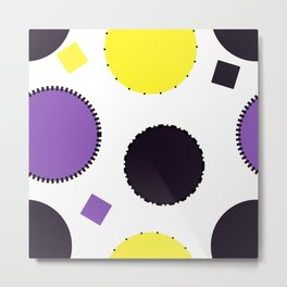 Nonbinary Pride Outlined Circles Pattern Metal Print