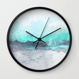 Aqua Blue Watercolor Print Wall Clock