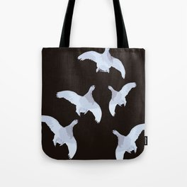 White Willow grouse Birds On A Black Background #decor #buyart #society6 Tote Bag