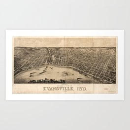Panoramic view of Evansville, Indiana (1880) Art Print