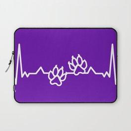 Animal Cat Dog Art Paw Prints Heartbeat On Purple Laptop Sleeve