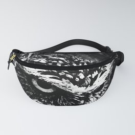 burrowing owl splatter watercolor black white Fanny Pack