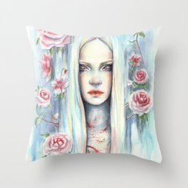 """""""Blossom"""" Watercolour Surreal Fantasy Nymph Throw Pillow"""