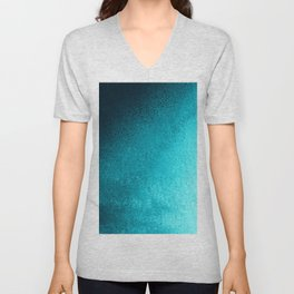Modern abstract navy blue teal gradient Unisex V-Neck