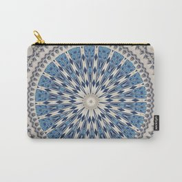 Bright Blue Marble Mandala Design Carry-All Pouch