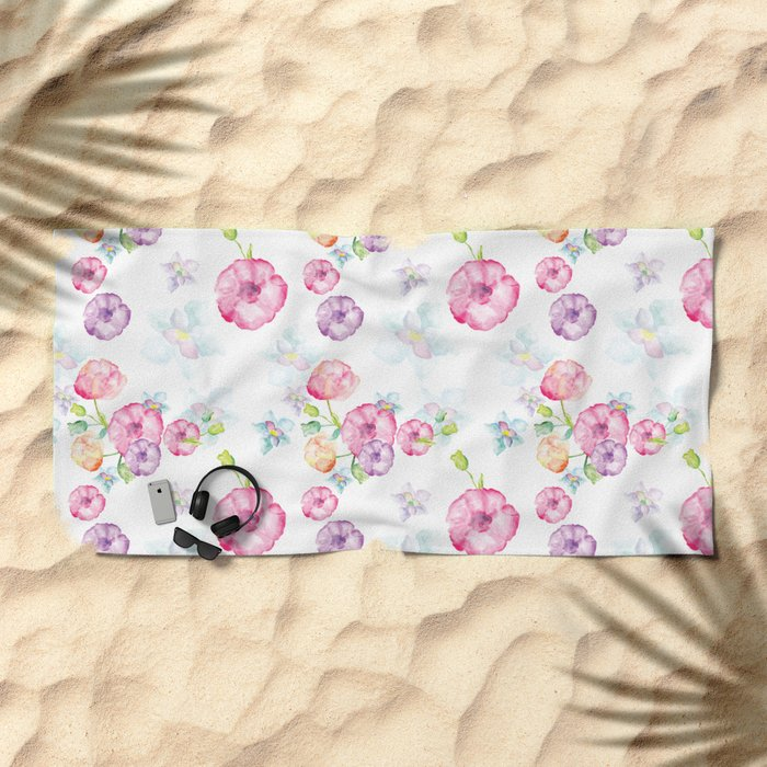 Delicate Floral Pattern 01 Beach Towel