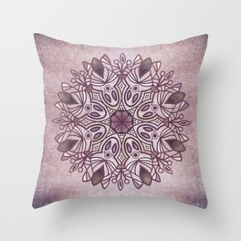 Hand drawn boho dusty rose pink mandala on parchment Throw Pillow