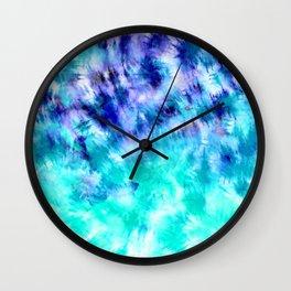 modern boho blue turquoise watercolor mermaid tie dye pattern Wall Clock