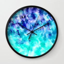 modern boho blue turquoise watercolor mermaid tie dye pattern Wall Clock